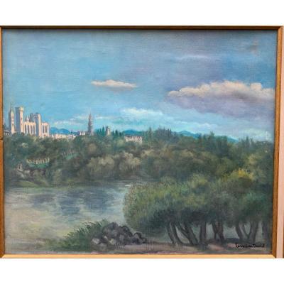 Hermine David (1886-1970)  Avignon, Le Palais Des Papes Et Notre-dame Des Doms