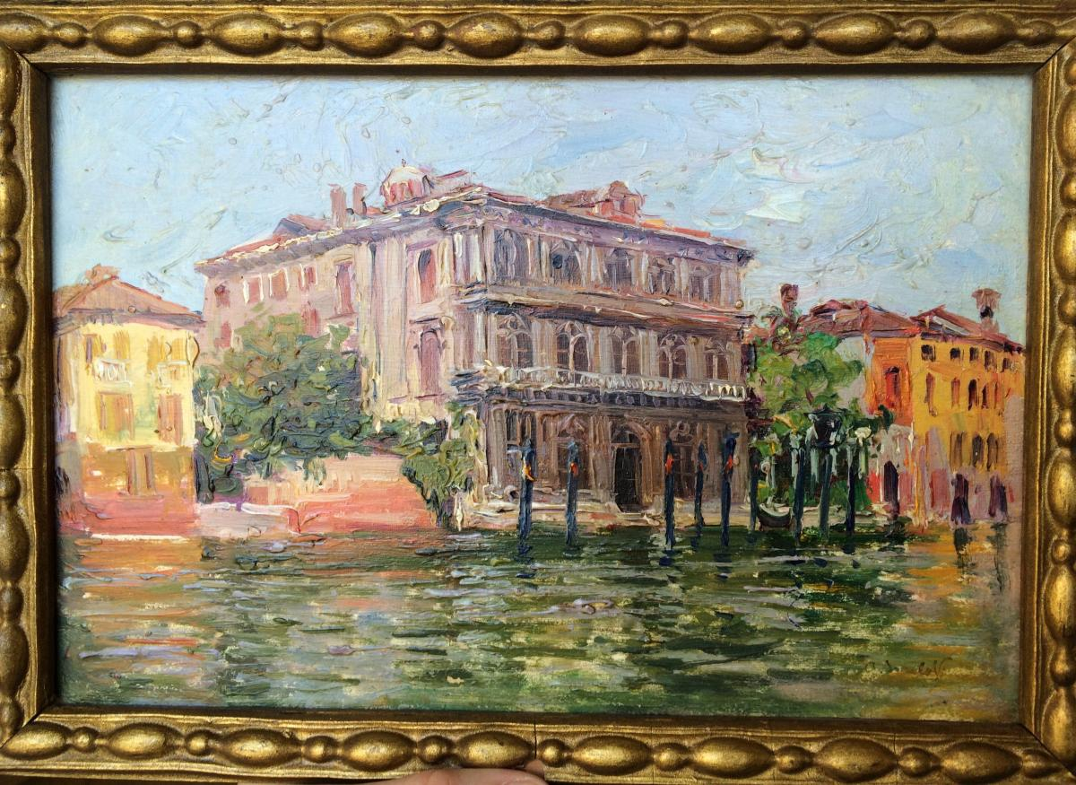 Alexandre Isailoff, Vendramin Calergi In Venice, Grand Canal, Oil On Panel