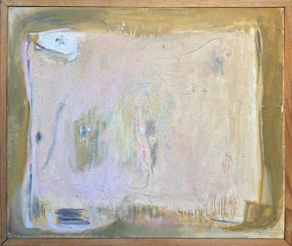 Pierre Grimm, Russe, Composition Abstraite, Huile Sur Toile, 46 X 55 Cm