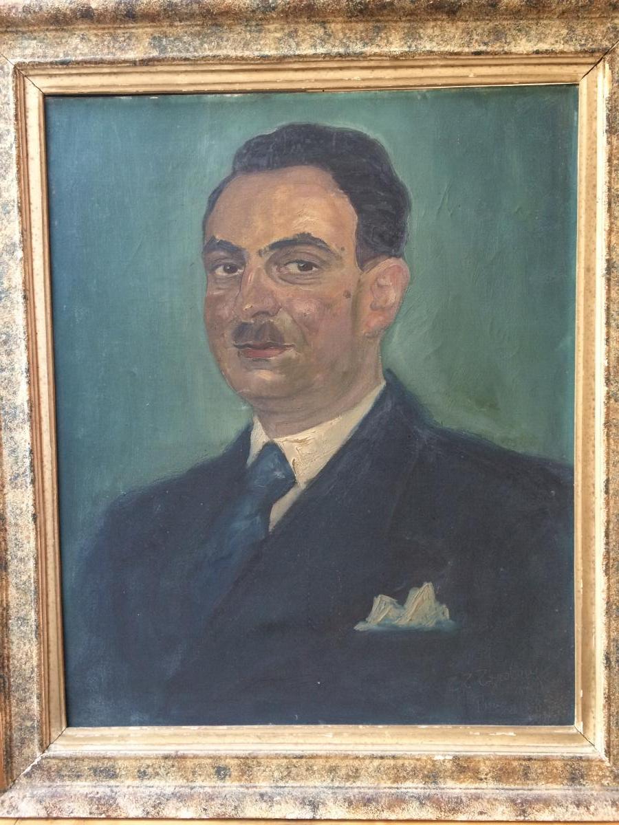 Emeric Tauss Torday, Portrait d'Homme, 1938, Huile Sur Toile