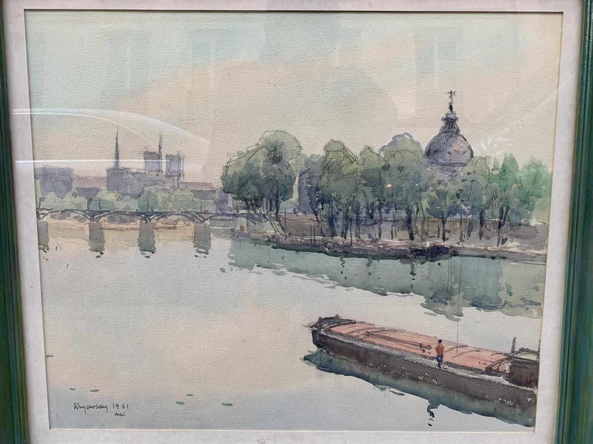 Nicolas Krycevsky The Pont Des Arts In Paris Watercolor
