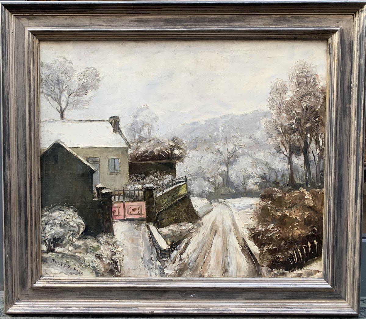 Domingos Toledo Piza (1887-1945) Snowy Landscape Brazilian Painter Brazil