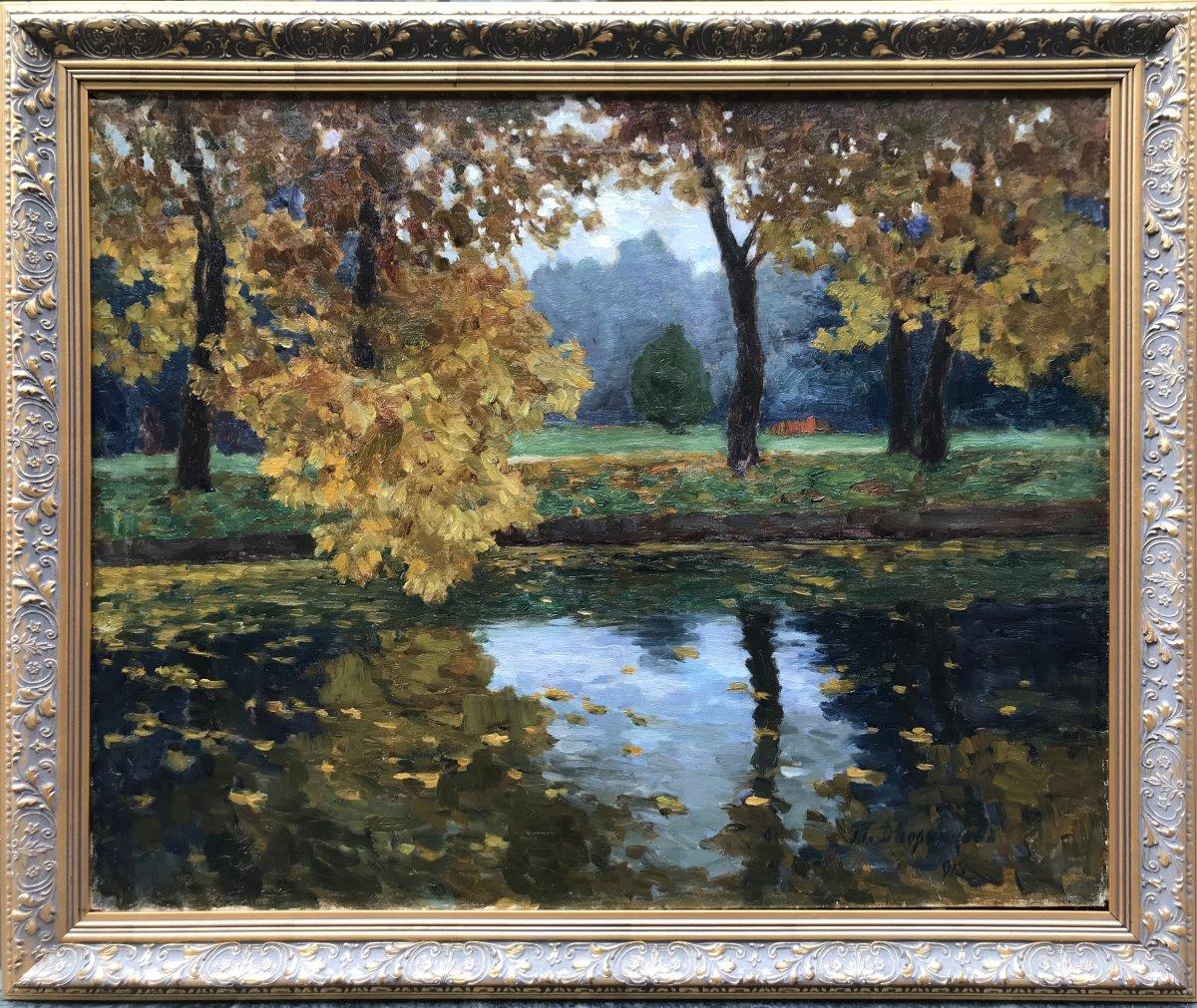 Tit Jokovlevic Dvornikov(1862 Kursk, Russia - 1922 Odessa, Ukraine)  Paysage d'Automne 1913
