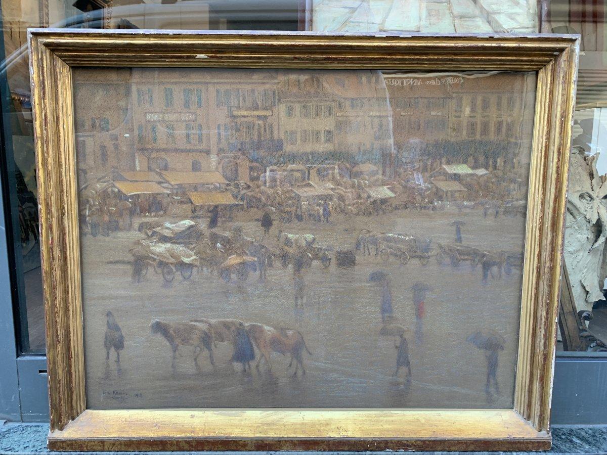Léon Kaufmann Dit Kamir (pawlowo 1872 - Louveciennes 1933) The Market In The Rain