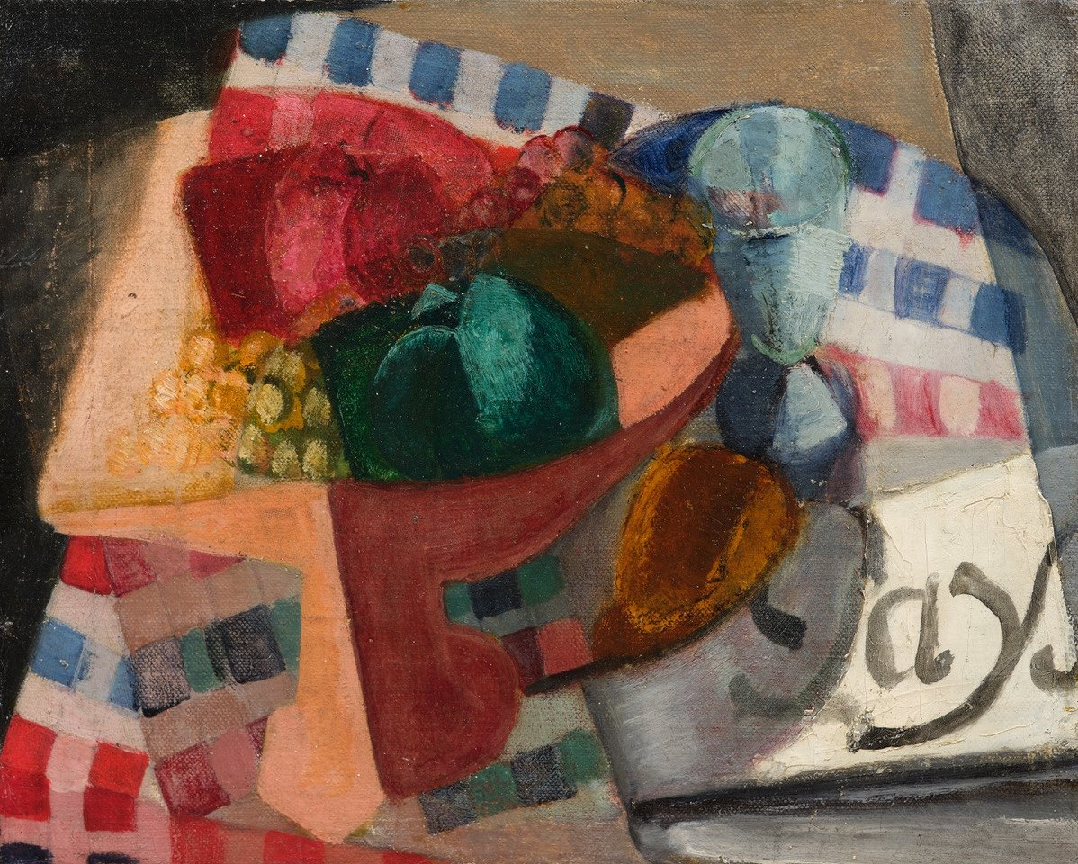 André Favory Landscape Cubist Still Life Tablecloth And Fruit Bowl Oil On Canvas