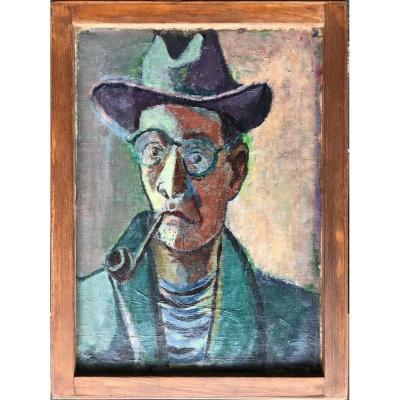 Nicolas Issaiëv Николай Исаев Ukrainian  Rare Autoportrait Et Bord De Mer Tableau Double Face