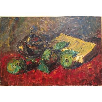 Joseph Le Tessier, Nature Morte Aux Pommes Et Aux Livres, Huile Sur Carton