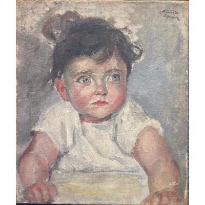 Tancrède Synave, Portrait d'Enfant aux yeux bleus, Huile Sur Toile