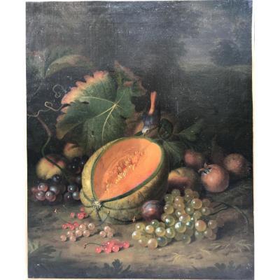 Tobias Stranovius, Tobias Stranover, Nature Morte Au Melon Et Raisins, Huile Sur Toile