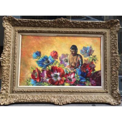 Georges Delfosse, Composition Au Bouddha Et Aux Fleurs, Huile Sur Toile 38,5 X 61 Cm