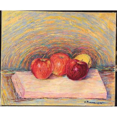 Serge Ponomarew, Nature Morte Aux Pommes, Huile Sur Toile