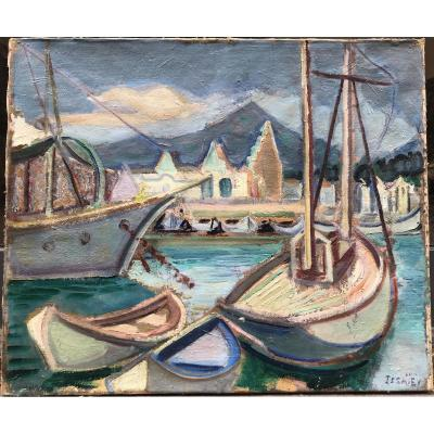 Nicolas Issaiev Николай Исаев Port De La Côte d'Azur, Huile Sur Toile, 46 X 55 Cm,