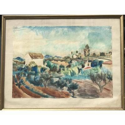 Wily Eisenschitz, Paysage De Provence, Aquarelle Sur Papier