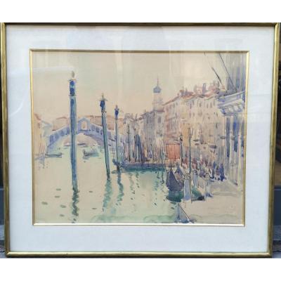 Nicolas Krycevsky, Venise, Aquarelle Sur Papier
