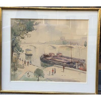 Nicolas Krycevsky, Vue De Paris, Aquarelle Sur Papier