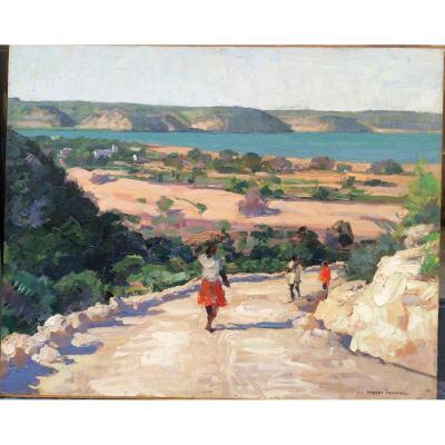 Robert Fernier paysage de Madagascar huile sur papier marouflée sur panneau