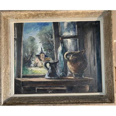 Anders Osterlind Composition à La Fenêtre Huile Sur Toile Signée