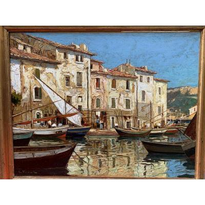 Gustave Vidal Martigues Oil On Canvas