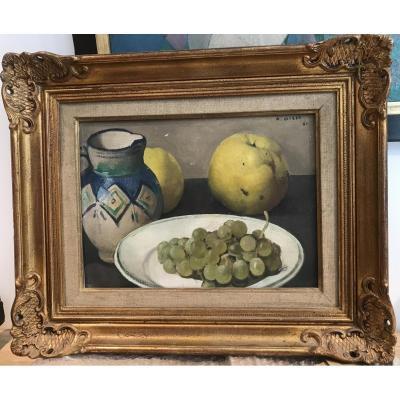 Jules Alfred Giess, Nature Morte Aux Pommes Et Raisins Huile Sur Isorel 1960