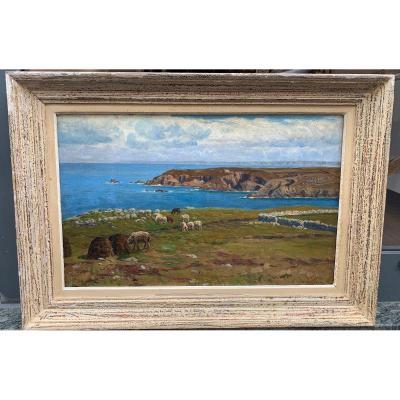 MAHOKIAN WARTAN (1869-1937) Paysage côtier Huile Sur Toile Peintre Arménien