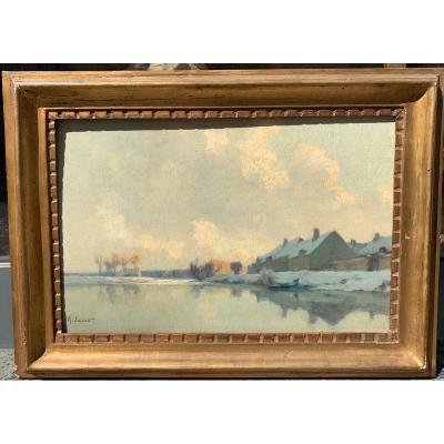 Alexandre Jacob (1876-1972) Paysage à Marcilly sur seine Exposée a Troyes