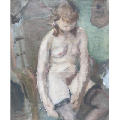 Lazare Volovick (1902 Krementchoug - 1977 Paris)  Лазарь Воловик Nu De Femme Aux Bas