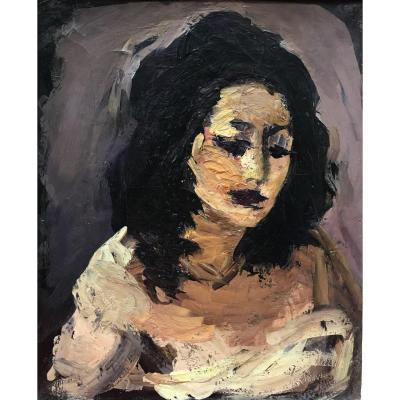 Vassyl Khmeluk Василий Хмелук Portrait De Femme Aux Cheveux Bruns, Huile Sur Toile