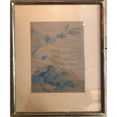 Pinchus Krémègne Пинхус Кремене Paysage De Céret Aquarelle Sur Papier