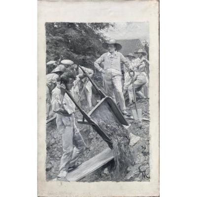 Felicien Myrbach (1853-1940) Napoléon au jardin demeure de Longwood, île deSainte-Hélène