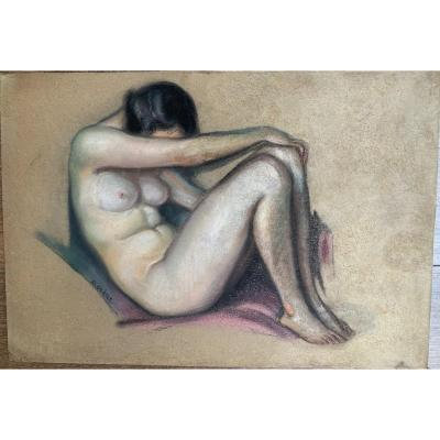 David Olere (1902 Varsovie- Noisy-le-Grand1985) Nu Pastel