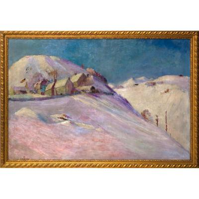 Wladimir De Terlikowski, Besse-en-Chandesse Enneigé Auvergne, 116 X 173 Huile Sur Toile
