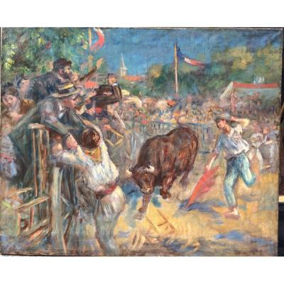 A Bull For Youth, Corrida Scene In The South Of France Oil On Canvas