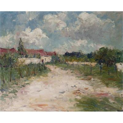 Alexandre Isailoff Александр Исайлофф Countryside Landscape, Oil On Canvas,