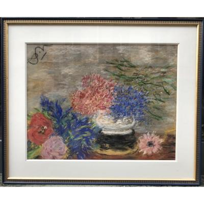 Anna De Noailles Hydrangeas Poppies And Daisies Pastel On Paper