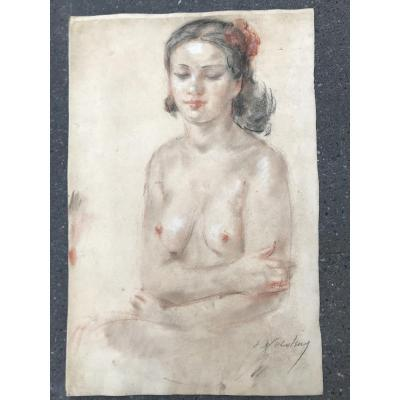 Eugène Nikolsky Naked Young Woman Sitting Pastel And Grease Pencil On Paper
