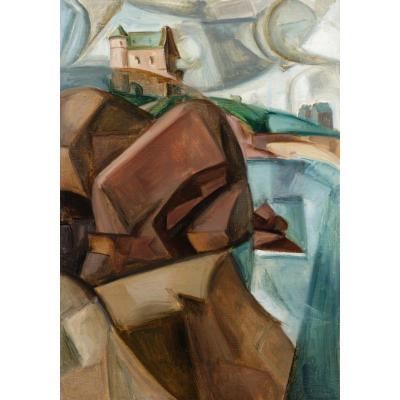 André Favory Falaise Cubiste à Perros Guirec Huile Sur Toile