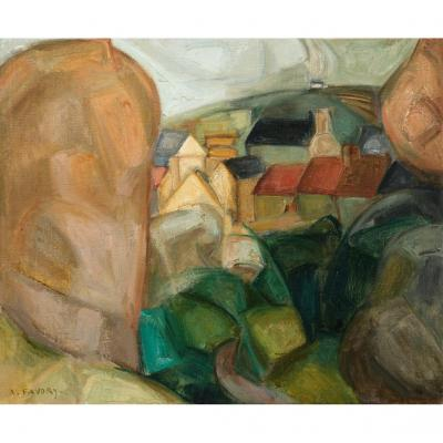 André Favory Landscape Of Brittany Cubist Oil On Canvas