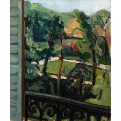 André Favory View Of A Garden From The Balcony Oil On Canvas