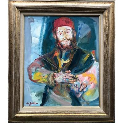 Walter Spitzer Le Peintre Au Béret Rouge Huile Sur Toile 56 X 46 Cm