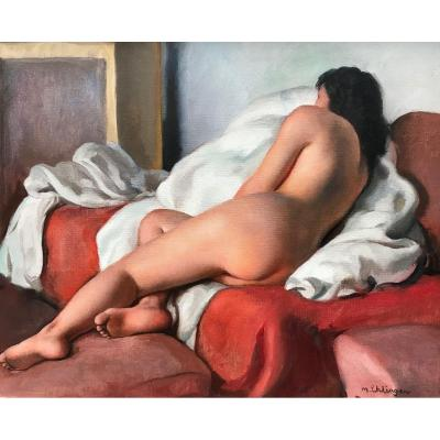 Maurice Ehlinger Naked Young Woman From Back Oil On Canvas