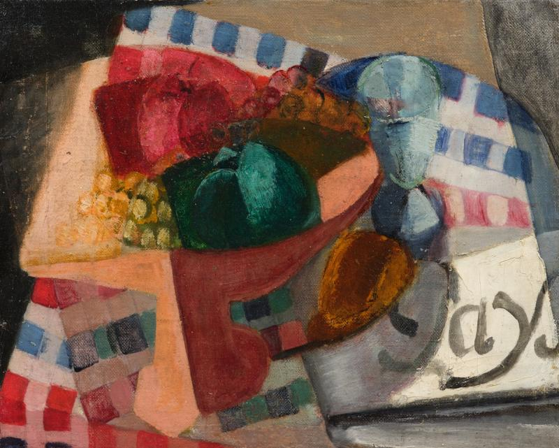 André Favory Landscape Cubist Still Life Tablecloth And Fruit Bowl Oil On Canvas-photo-2