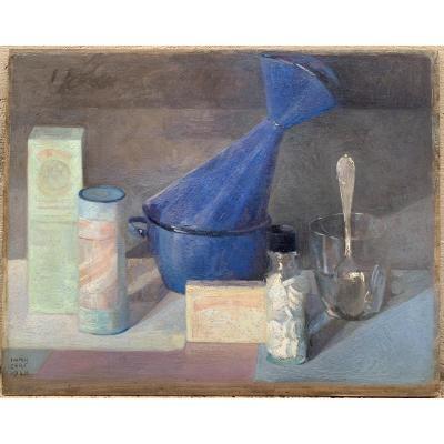 Iwan Cerf  (1883, Verviers– 1963, Paris) Nature Morte Au Verre à La Cuillère 1948
