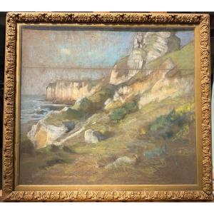 Alexandre Nozal Falaises à Saint Jouin Bruneval En Normandie Pastel Sur Papier 39 X 44 Cm