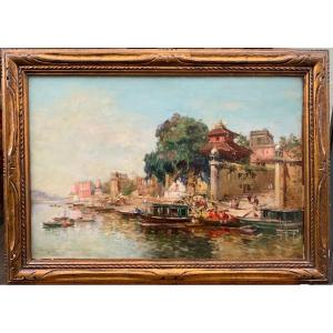Maurice Lévis (1860-1940) A Calm Morning On The Banks Of The Ganges In Benares In India