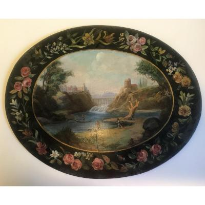 Landscape Painted On 18th Century Sheet Metal