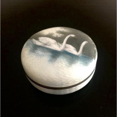 Enamel And Silver Swans Box