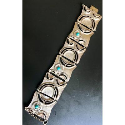 Large Bracelet Modernist En Argent