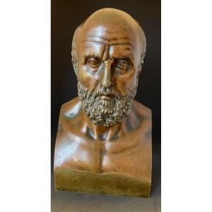 Bust Of Hippocrates Carved In The Taste Of Chaudet