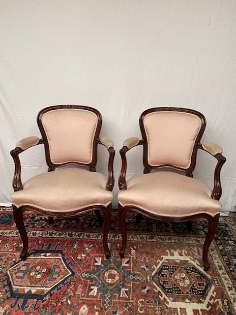 Pair Of Louis XV Style Cabriolet Armchairs