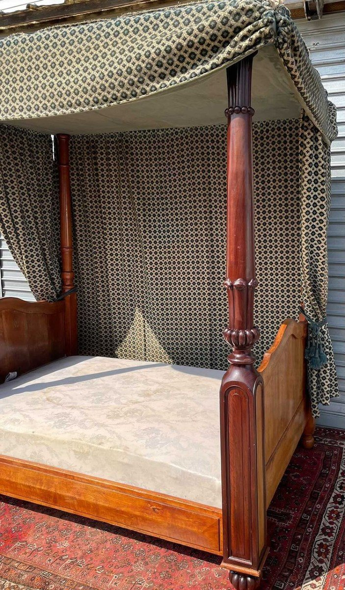 Canopy Bed In Mahogany 19th Time-photo-2
